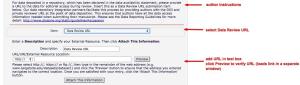 PLOS Data Review URL interface